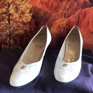 Salvatore Ferragamo Slip-on Off White Heels
